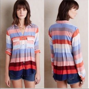 Maeve Wynwood Bold Stripe Button Down Blouse